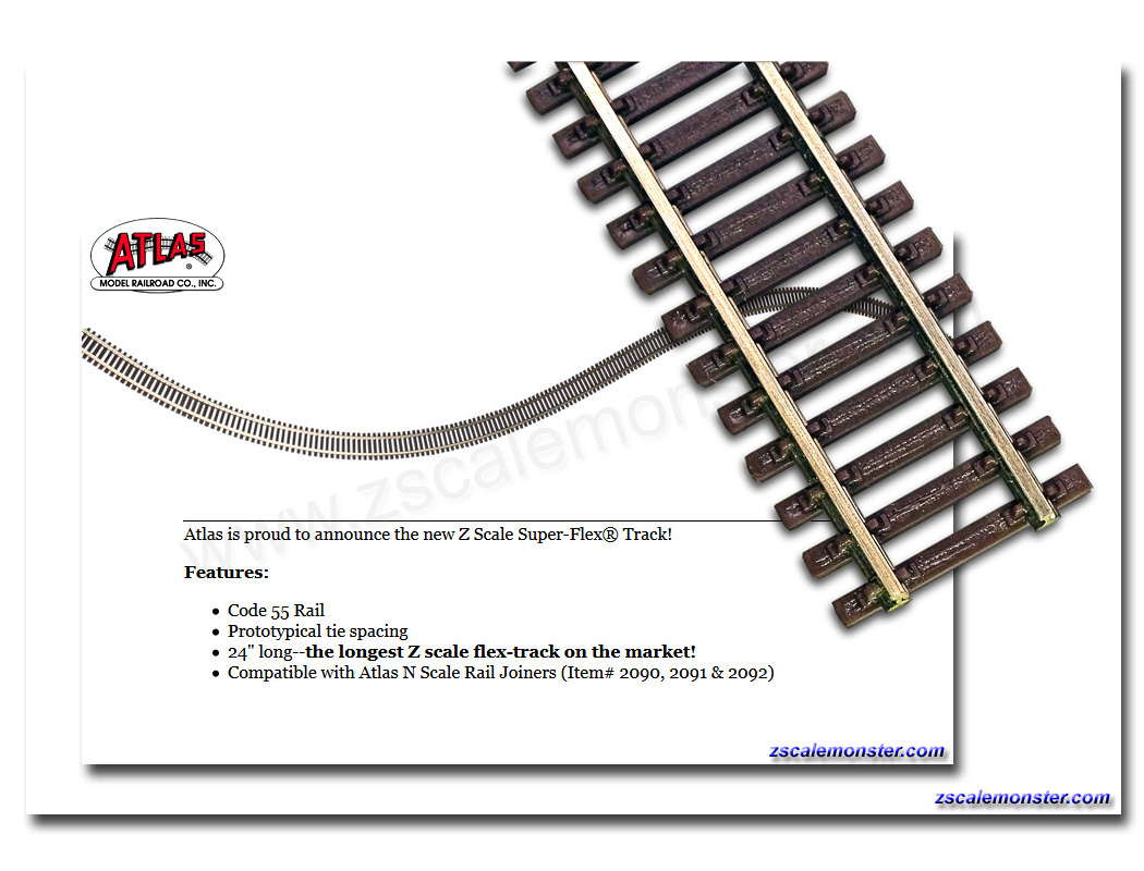 Z Scale Atlas Zscale Monster Trains Wiring Ho Tracks For Storage Code 55 Super Flex Track Buy More And Save